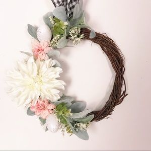Spring Easter Wreath White Pink Black Flowers Eggs